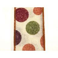 "2.5 "" x 10 yd Stamped Fall Dots - Ivory / Burgundy / Moss / Orange"