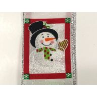 "2.5 "" x 10 yd Snowman Squares - White / Red / Black / Lime"