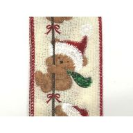 """2.5 """" x 10 yd Christmas Bears on Rope - Ivory / Brown / White / Red / Green"""