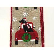 "2.5 "" x 10 yd Christmas Truck w / Black Lab - Natural / Red / Green / Black / White"