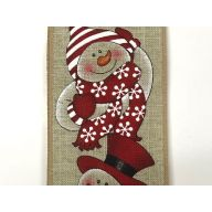 "2.5 "" x 10 yd Snowmen - Natural / Red / Black / White"