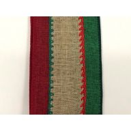 "2.5 "" x 10 yd Canvas Center Stitch - Red / Natural / Emerald"