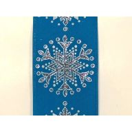 "2.5 "" x 10 yd Satin Multi Glitter Snowflake - Turquoise / Silver"