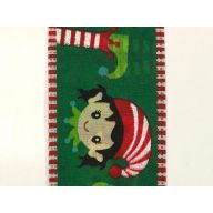 """2.5 """" x 10 yd Elves w / Dashed Edge - Emerald / Lime / Red / White"""