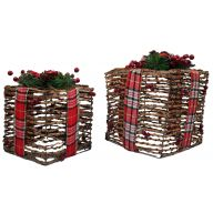 S / 2 Square Vine Giftbox W Bow 8 / 11 ""