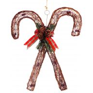 "19.75 "" Double Vine Candy Cane W Ribbon Berries & Cones"