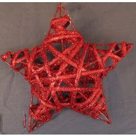 """6 """" Rattan Cubic Star - Red"""