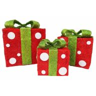 """S / 3 Vine Gift Box 6 / 8 / 10 """" - Red / Lime"""