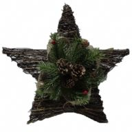 "15"" X 6"" X 15"" Rattan / Burlap Star Tree Top w/ Pine / Pinecones / Berries (CF100133HK)"