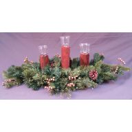 """32 """" X 3 Log Glass Votive Candle Holder Gold w / Berries & Cones 90 Tips"""