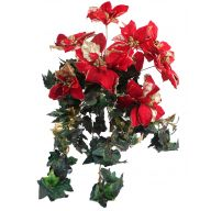 Large Ivy Holly Poinsettia Mix Hanging Bush - Red